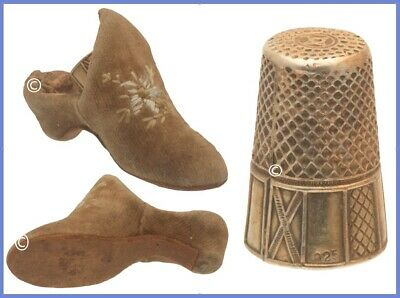 Antique Shoe Thimble Holder & Gilded Thimble *C.1900s