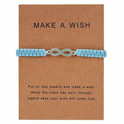 Fashion Handmade Infinity Love Rope Bangle Bracelet Friendship Card Jewelry Gift