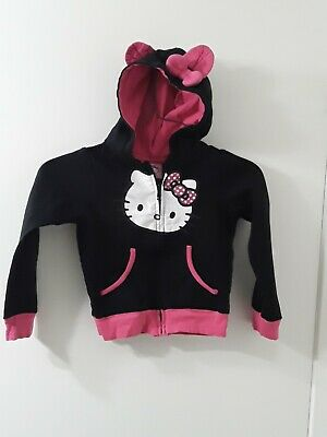 Kids Girls Hello Kitty Hooded Fleece Zip girls Jacket sz 5
