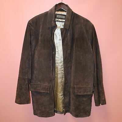 Mens Vintage PIERRE CARDIN Brown Genuine Suede Leather Coat Size L  - H10