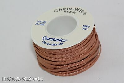 30m of Chem Wik Fast Acting 2.5mm Wide Rosin Flux Desoldering Wick Braid Mop