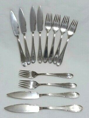 Antq Deco Wmf Ostrich Germany Silverplate Cake Fish Flatware 12 Pcs Knives Forks