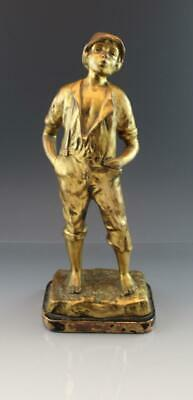 Antique Gilt Bronze Patina Spelter Figure of a Young Boy w/ a Hat