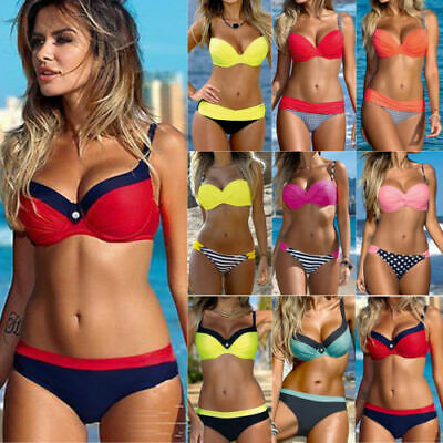 Womens Triangle Bikini Set Push-up Padded Underwire Bra Beach Swimsuit Swimwear