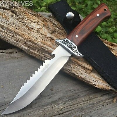 "Survival 11"" Stainless Tactical Skinning Hunting Knife Wood Handle Bowie W"