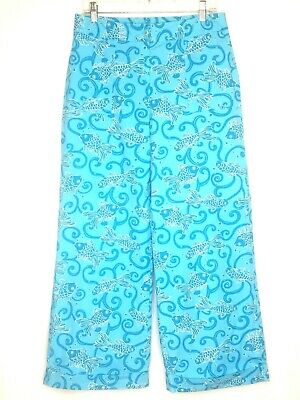 Lilly Pulitzer Hippie Wide Leg Palazzo Fish Ankle Pants 12 Blue