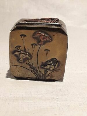 Meiji - Taisho Mixed metal box with silver hinge