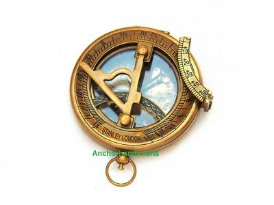 Nautical Antique Brass Marine Stanley London Pocket Sundial Compass A Nice Gift