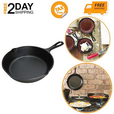 """Small Cast Iron Skillet For Stovetop Eggs Steak Camping Mini Lodge Frying Pan 6"""""""