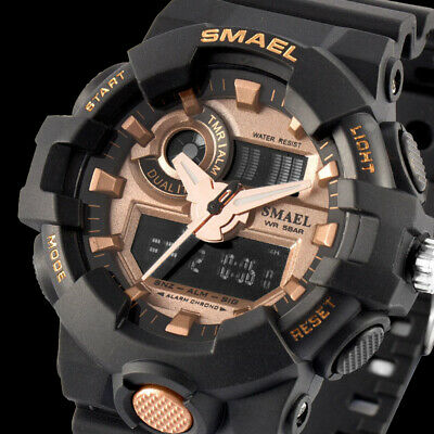 SMAEL Mens Military Watch Quartz Digital Analog Wrist Waterproof Watches Sports