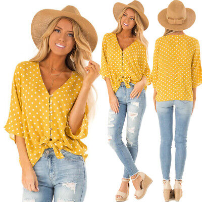 Women Polka Dot V-Neck Button Knotted Shirt Summer Casual 3/4 Sleeve Tops Blouse