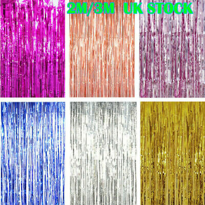 2/3M Foil Shiny Fringe Curtain Wall Door Room Decoration birthday Wedding Party