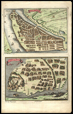 1747 G. Child Map India Cities of Cochin & Diu Hand Colored Copper Engraving