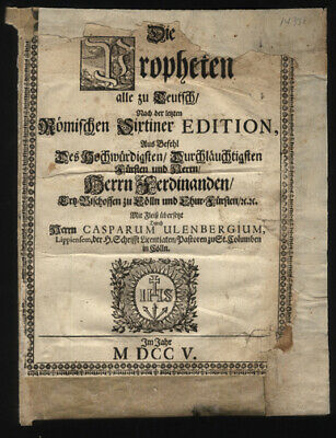 1705 Title Page German Bible Leaf  Dietenberger Bible Martin Luther Bamberg