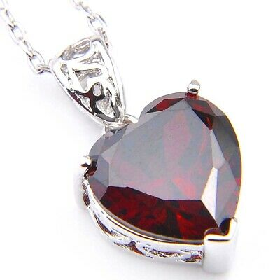 Natural Jewelry Heart Style Fire Red Garnet Silver Necklace Pendant With Chain