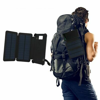 Solar Panel Charger Waterproof Usb Outdoor Power Bank With LED 5.5inch 8000mah
