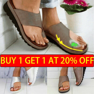 UK STOCK Women Girl Comfy  Sandals Shoes - PU LEATHER - Bunion Corrector