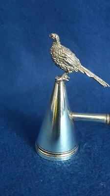 Terrific H/M Ldn 1981 Sterling Silver Ldn 1981 Candle Snuffer w Figural Pheasant