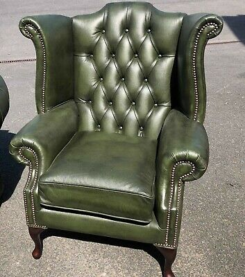 Chesterfield Armchair Queen Anne High Back Wing Chair Antique Green IN STOCK!