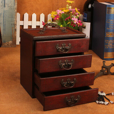Wooden Vintage Case Treasure Chest Jewelery Storage Box Organiser Ring 16.5CM