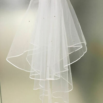 2T White Ivory Crystal Bridal Wedding Veil with Comb, Elbow length, Satin Edge