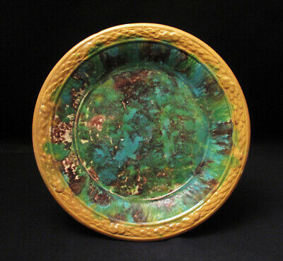 Antique Spongeware Majolica Plate Possibly Lithgow Australian Pottery Small #2