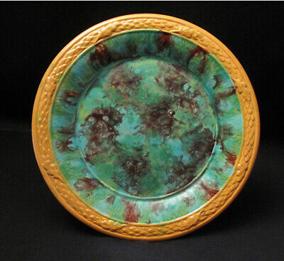 Antique Spongeware Majolica Plate Possibly Lithgow Australian Pottery Large #3
