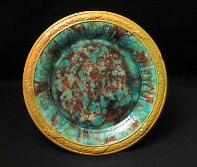 Antique Spongeware Majolica Plate Possibly Lithgow Australian Pottery Large #4