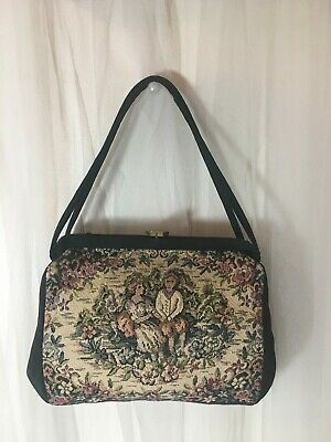 Vtg Victorian floral Finished Needlepoint Hand Bag PURSE. Pre 1960's tapestry