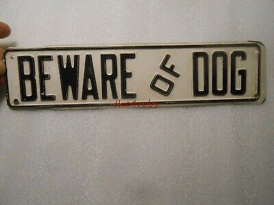 Vintage Beware of Dog Embossed Metal Sign 12 X 3 Inches