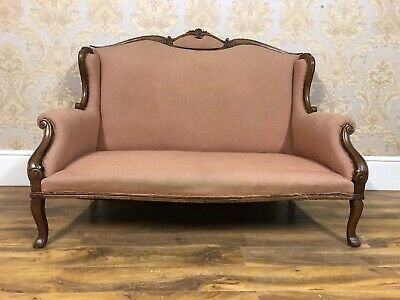 Vintage show wood frame sofa, day settee, parlour couch.