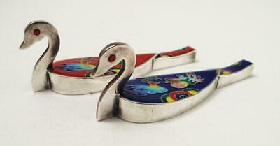 Pure Silver Cloisonne Enamel Vintage Korean Wedding Ducks Pair Hallmarked