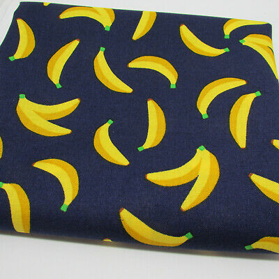 Bananas on Navy 100% cotton japanese fabric by Sevenberry