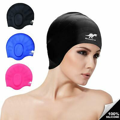 52119969a51 Silicone Swim Caps for Long Hair Ear Protection Comfortable Fit Men Women  Adults