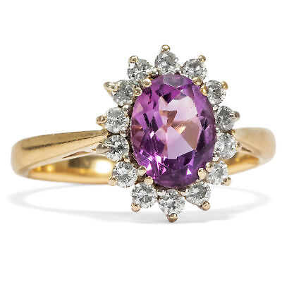 Vintage AMETHYST & DIAMANT RING: 750 Gold & Diamanten, Brillanten Verlobungsring