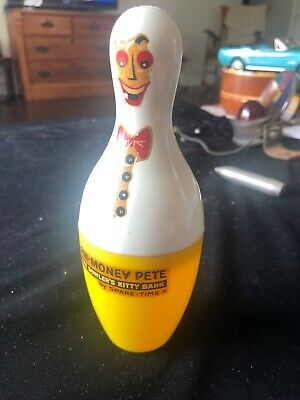 Vintage Yellow Spare Time Pin Money Pete Plastic Bowling Pin Bank Rare Color