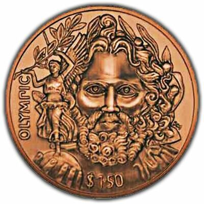 British Virgin Islands 2013 Father of Modern Olympics Antique Finish Copper Coin