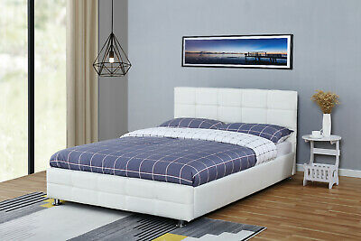 Modern Design 4ft6 Double White faux leather Bed Frame