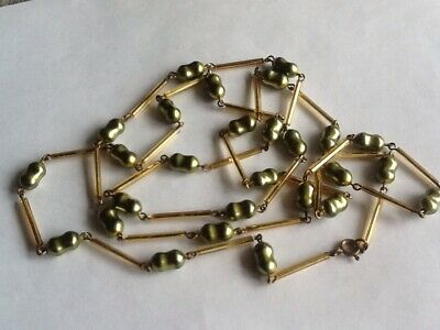 Vintage Long Strand Of Art Deco Gold & Green Glass Beads