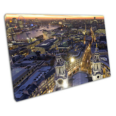 St Paul's Cathedral at night city lights skyline of London Ready to Hang X1424