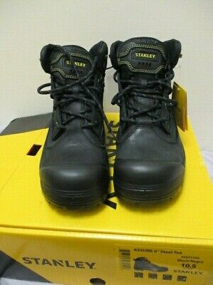 ac418a3541f STANLEY MEN'S STEEL Toe Ankle Safety Work Boots Black Leather EUC ...