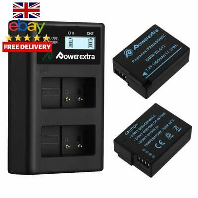 Powerextra 2 X Dmw-Blc12 Dmw-Blc12E Battery And Dual Lcd Battery Charger Compati