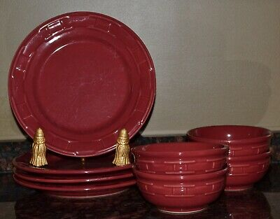 """Longaberger 8 pc. Woven Traditions Paprika Pottery 4~10"""" Dinner Plate/4 Bowls"""