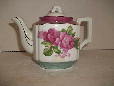 Vintage Mid Century Modern Pink Teal Luster Teapot Roses Gold Accent Lines Japan