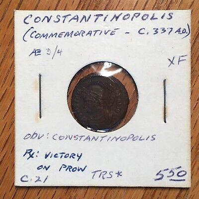 337 AD AE 3/4 Constantine the Great Commemorative Victory on Prow #G318