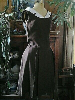 Vintage late 1950's Sweet Linen DRESS brown & white 34-28-42