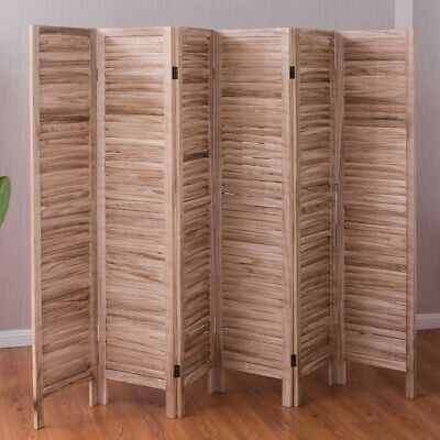 Folding 6 Panels Classic Venetian Wooden Slat Room Divider Privacy Screen Decor