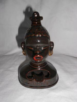 "Vintage AFRICAN Woman Bust RETRO Smoking ASHTRAY ""Excellent Condition"" MID CENT"