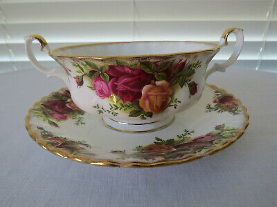 """Royal Albert  """"Old Country Roses"""" Soup Coupe and Saucer - 1st Class England"""