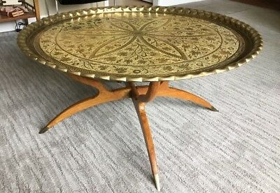 "Mid-Century Large 40"" Brass Tray Top Table Spider Leg Base Hollywood Regency"